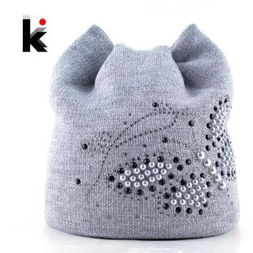 DCCKWQA Winter Cat Beanie Hat Ladies Knit Hats For Women Beanies Caps Pearls Butterfly Diamond Beanie Touca Knitted Cap With Ear Flaps