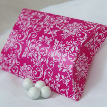 Damask Pillow Boxes Favors, 3-inch, 12-pack, Hot Pink