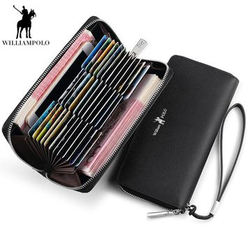 Williampolo Genuine Leather Long Wallets Money Clip Male Business Luxury Men Purses Man's Clutch Bag billetera hombre PL300