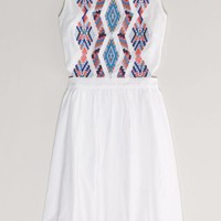 AEO Women's Embroidered Cutout Dress (White)