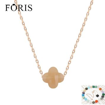FORIS Brand Jewelry Fashion Beautiful Four Leaf Clover Rose Gold Crystal Necklace For Girlfriend Gift 15 Colors PN036