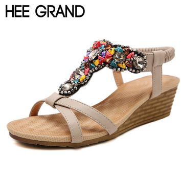 HEE GRAND 2018 Summer Wedges Sandals With Rhinestone Crystal String Bead