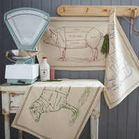 Farmers Market - Traditional Butchers Style Cotton TEA, DISH TOWEL -  Sheep, Cow - Dude Ranch