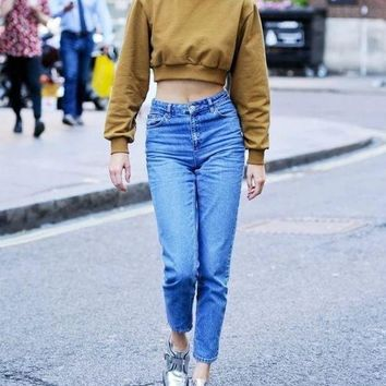 Retro Ultra High Waist Was Thin And Loose Feet Harlan Jeans Pants