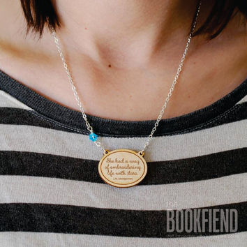 she had a way engraved necklace choose Swarovski by BookFiend