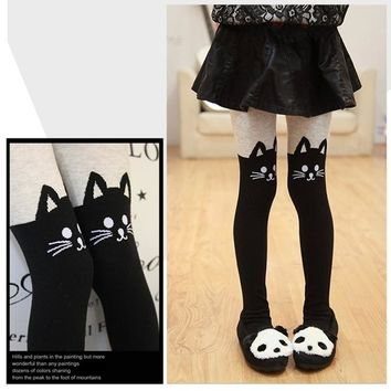 Girls Tights Kids Cartoon Tights For Girls Baby Minnie Hello Kitty Cat Elastic Waist Knitted Stitching Pantyhose Stocking