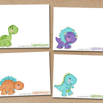 Dinosaur Note Cards Notecards Personalized set of by Luv2ScrapForU