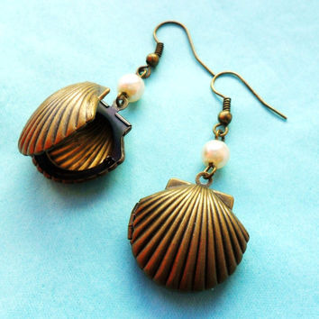 Sea Shell Locket Earrings, Keepsake Earrings, Secret Beach Earrings Antique Bronze little Pearl seaside seashore clam mermaid jewelry