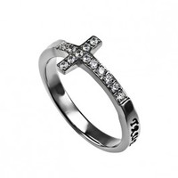 Sideways Cross Ring-SELECT YOUR VERSE!! - True Love Waits Rings PurityRing.com