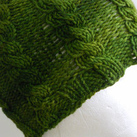 Knitted Cabled Green Beanie Hat