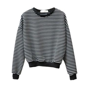 2018 Fashion Women's Navy Wind Stripes Hoodies Long-Sleeved Sweatshirt Women Loose Round Neck Female Sweatershirt Autumn New T