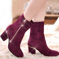 Fashion Retro zipper boots