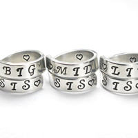 Big Sis Mid Sis Lil Sis Rings, Sisters Matching Spiral Rings, Big Sister Middle Sister Little Sister, Hand Stamped Sister Gift Ring Set