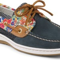 Sperry Top-Sider Bluefish Liberty Floral Print 2-Eye Boat Shoe Navy/BrightBlue, Size 6M  Women's Shoes