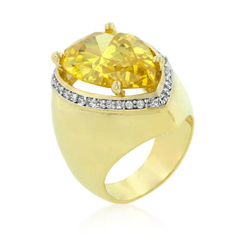 Yellow Pear CZ Cocktail Ring