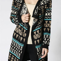 Women Multi Colors Aztec Print Open Front Knit Cardigan