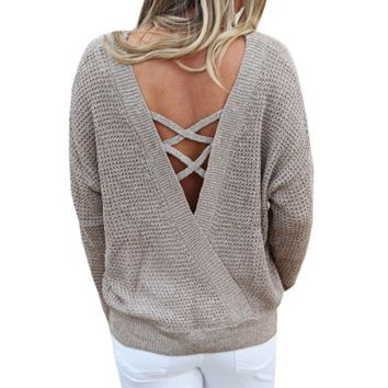 Solid Color Loose Knitting Backless Sweater