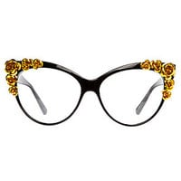 The Floral Cat Eye Glasses in Black
