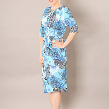 Light Blue classic modest  midi dress, with belt and paisley print
