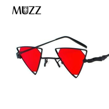 MUZZ Steampunk Ellipse Metal Sunglasses for Men Women Removable Lens Trigonomet Retro Vintage Mirrored Circle glasses small oval