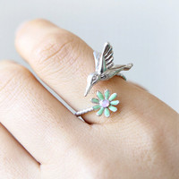 Hummingbird and flower Ring / bird ring, flower ring,