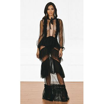 Risk And Reward Polka Dot Sheer Mesh Long Sleeve Cut Out Keyhole Ruffle Bow Maxi Dress