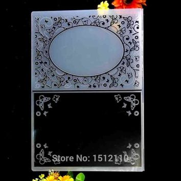 A4 Size Flowers Butterfly Frame Plastic Embossing Folder For Scrapbook DIY Album Card Tool Plastic Template 29.7x21cm KW680620