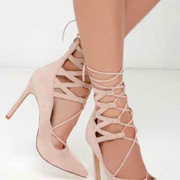 All Shook Up Nude Suede Lace-Up Heels