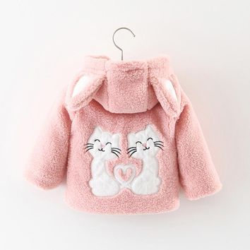 Baby girl clothes winter coats zipper cute cartoon cat warm coat with hooded baby girls clothing newborn clothes