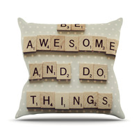 """Cristina Mitchell """"Be Awesome And Do Things"""" Wooden Letters Throw Pillow"""