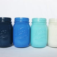 Blue Ombre Painted Mason Jar Set