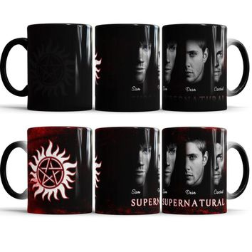 Supernatural Magic Mug, Sam, Dean, Castiel - Color Changing Coffee Cup