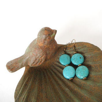 Turquoise Blue Green Coins with Brass Discs Dangle Earrings Gift fashion under 20 Matching Necklace