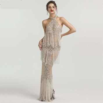 Luxury Designer  Halter  Sexy Tulle Shimmering Evening Dress Ball Gown