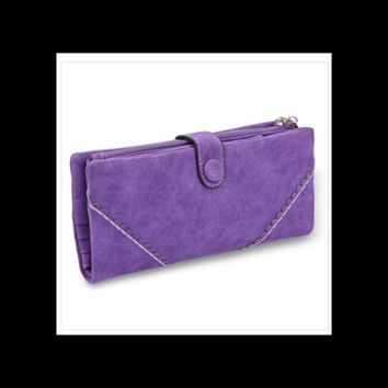 Ladies V Patter PU Suede Zippered Clutch Wallet