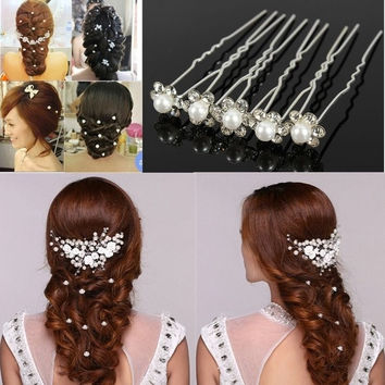 20Pcs Chic Crystal Pearl Flower Wedding Bridal Bridesmaid Hair Pin Clips Jewelry = 1929493316