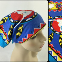 Vintage Colorful Southwestern Native American Handkerchief Bandana Bull Skull, Horses, Feathers Chevron Trim Blue, Yellow, Red, Black, White