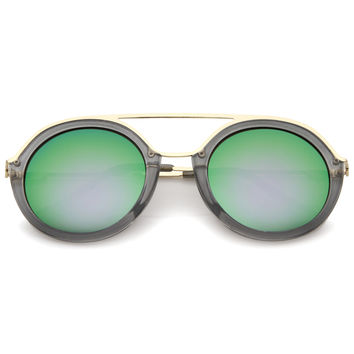 Dapper Round Double Frame Mirrored Lens Sunglasses A509
