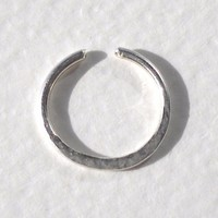 925 Sterling Silver Hammered Ear Cuff or Fake Nose Ring 18G
