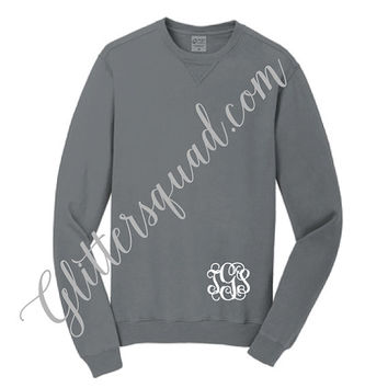 Grey Crew Neck Monogrammed Pigment Sweaters - Similar to Comfort Colors Sweaters. Bridesmaid Sweaters