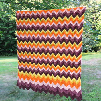Vintage chevron zig-zag crochet afghan blanket throw in dark-brown maroon mauve orange yellow 84 x 47 in