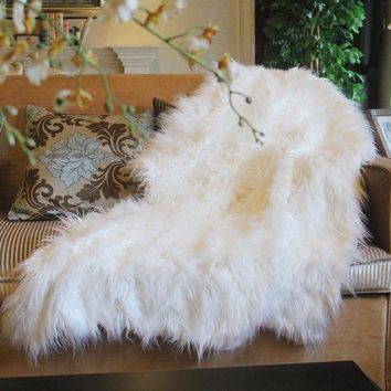 Tache Lion Pile 50 x 60 Inch Faux Fur Throw Blanket