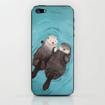 Otterly Romantic - Otters Holding Hands iPhone & iPod Skin by When Guinea Pigs Fly