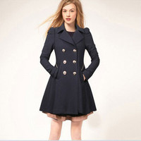 2017 New Fashion Women Coat Thin  Black/Beige Women Trenchcoat Double Breasted Long Trench Slim Women Outwears Coat XXL XB076