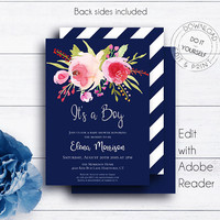 Navy Blue It's a Boy Shower Invite, Silver Glitter Baby Shower, Editable Invitation PDF Templates, Edit Yourselv Invite,Floral Shower Invite