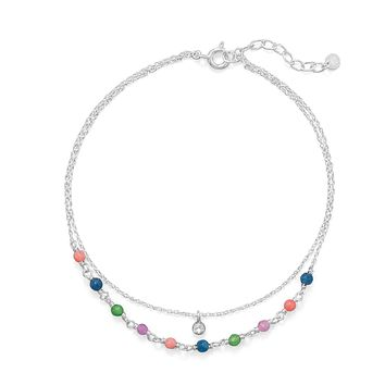Sterling Silver Multi-Color Jade Bead and CZ Double Strand Anklet