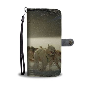 Snow Dog Sled Phone Case Wallet