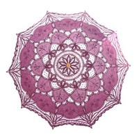 Topwedding Pure Cotton Embroidery Lace Wedding Umbrella, Dark Fuchsia