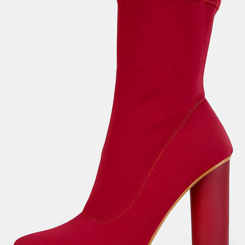 Cylinder Heel High Shaft Boots BURGUNDY | MakeMeChic.COM