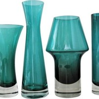 Teal Glass Vases, Set of 4 - One Kings Lane - Vintage & Market Finds - Decorative Accessories